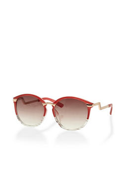Two Toned Round Sunglasses with Metal Accents - 3133004269146