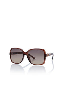 Oversized Square Sunglasses with Glitter Accent - 3133004269264