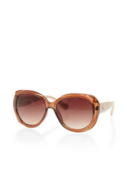 Oversized Thick Oval Sunglasses - 3133004269754