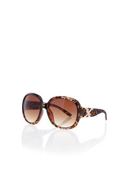 Oversized Round Sunglasses with Woven Arms - BROWN - 3133056178107