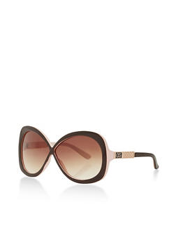 Large Criss Cross Sunglasses with Metallic Detail - 3133071211054