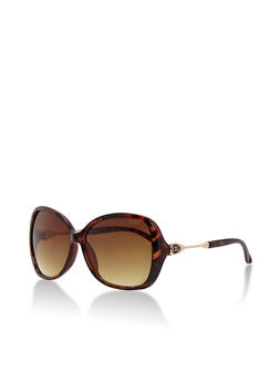 Square Sunglasses with Half Metal Temple - 3133071213169