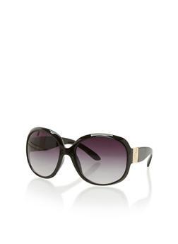 Large Oval Sunglasses with Metallic Hinge - 3133071219707