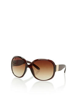 Large Oval Sunglasses with Metallic Hinge - 3133071219707