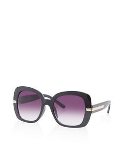 Large Square Metallic Detail Sunglasses - 3133071222599