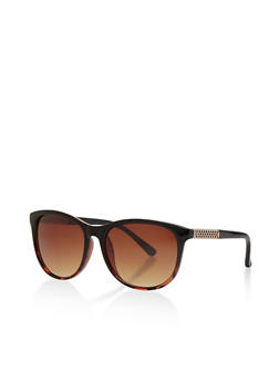 Plastic Frame Sunglasses with Lasercut Side Detail - 3133072626658