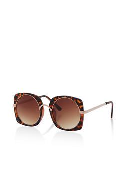 Round Insert Square Frame Sunglasses - 3133073210707
