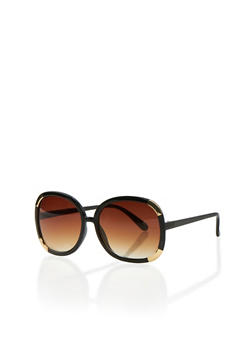 Oversized Round Sunglasses with Metallic Corners - BLACK/GOLD - 3133073211465