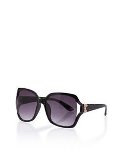 Square Sunglasses with Bow Accent and Studded Arms - BLACK - 3133073212954
