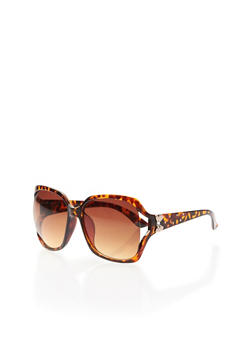 Square Sunglasses with Bow Accent and Studded Arms - TORT - 3133073212954