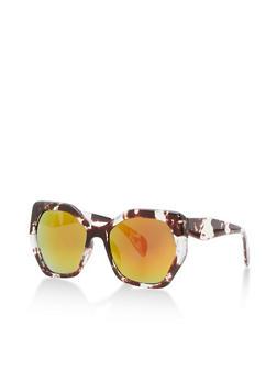 Large Geometric Plastic Sunglasses - 3133073214075