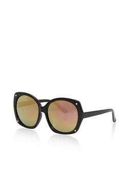Large Oval Sunglasses with Mirrored Lens - 3133073215113