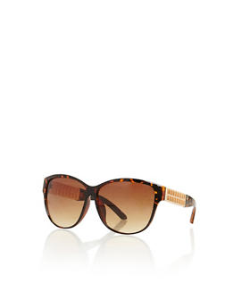 Metallic Lasercut Temple Sunglasses - 3133073215911
