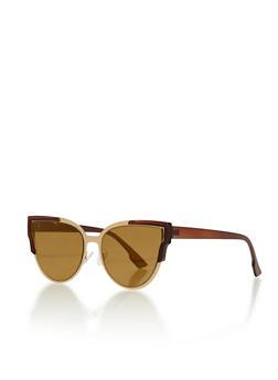 Flat Lens Cat Eye Sunglasses - 3133073217070