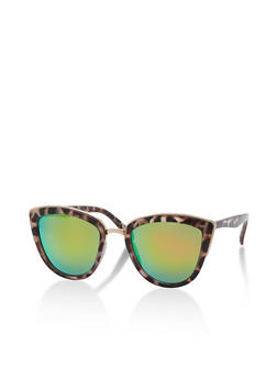 Cat Eye Sunglasses with Metal Accent - 3133073217340
