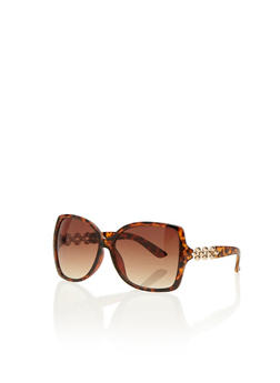 Square Sunglasses with Metal Geo Arms - TORT - 3133073219589