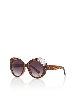 Oversized Sunglasses with Rhinestone Accent - 3133073911607