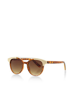 Round Mirror Sunglasses with Contrast Metal Top Bar - 3133073915007