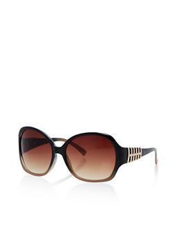Round Plastic Sunglasses with Metallic Detail - 3134004265479