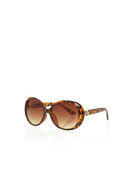 Sunglasses with Crystal Floral Accents - TORT - 3134071213032