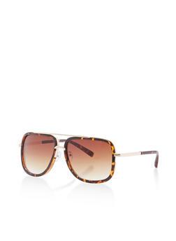 Plastic Metallic Top Bar Square Aviator Sunglasses - 3134071219812