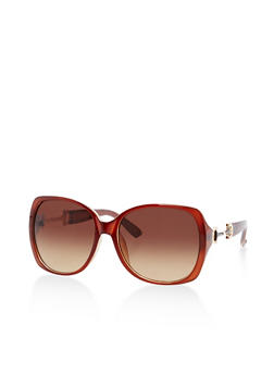 Square Sunglasses with Metallic Side Detail - 3134073895897