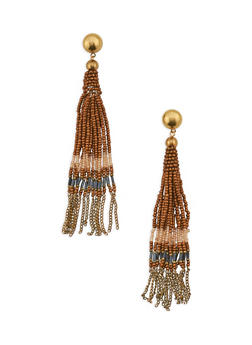 Beaded and Chain Fringe Drop Earrings - 3135018439454
