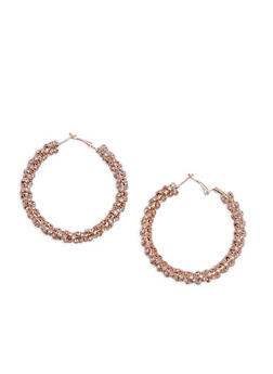 Rhinestone Wrapped Hoop Earrings - 3135029360305