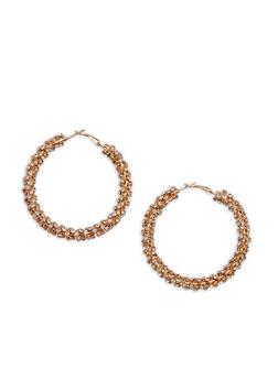 Rhinestone Wrapped Hoop Earrings - 3135029360305