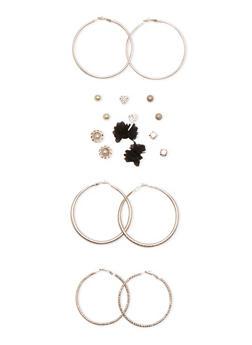 Set of 9 Hoops and Stud Earrings - 3135035150395