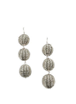 Metallic Thread Wrapped Bead Drop Earrings - 3135035151463