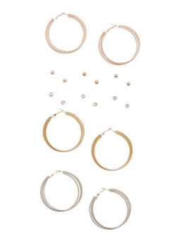 Set of 9 Tri Tone Stud and Hoop Earrings - 3135035152264