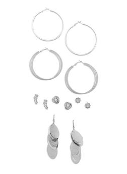 Set of 6 Assorted Metallic Earrings - 3135035152405