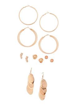 Set of 6 Assorted Metallic Earrings - 3135035152405