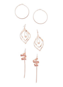 Glitter Hoop and Spiral Earrings Set - 3135035152476