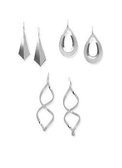 Set of 3 Glitter Drop Earrings - 3135035152481