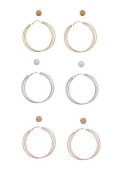 Set of Glitter and Textured Hoop and Stud Earrings - 3135035153196