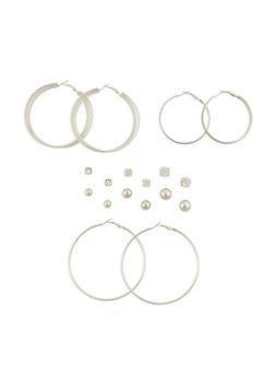 Metallic Ball Stud and Glitter Hoop Earrings Set - 3135035153200