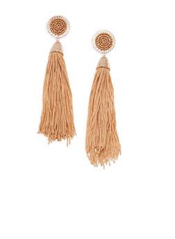 Beaded Disc Tassel Earrings - 3135035153517