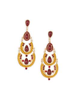 Jewel and Rhinestone Encrusted Chandelier Earrings - 3135035154128