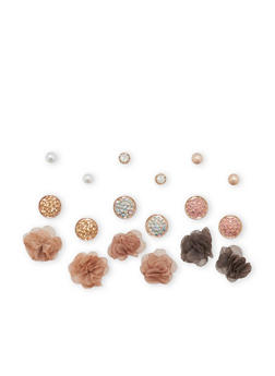 Rhinestone and Fabric Stud Earrings Set - 3135035154567