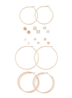 Set of 9 Assorted Stud and Hoop Earrings Set - 3135035154598