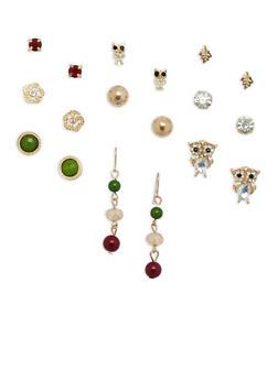 Set of 9 Owl Rhinestone Stud and Drop Earrings - 3135035154873