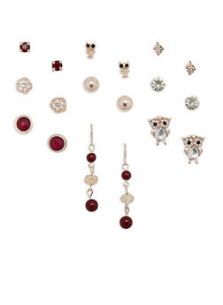 Set of 9 Owl Rhinestone Stud and Drop Earrings - 3135035154873