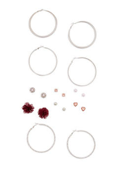 Floral Rhinestone Studs and Hoop Earrings Set - 3135035155930