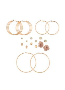 Fabric Flower Rhinestone Stud and Hoop Earrings Set - 3135035157047