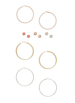 Set of 6 Stud and Twisted Hoop Earrings - 3135035157387