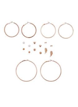 Assorted Stud and Hoop Earrings Set - 3135035158853