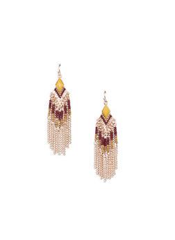 Beaded Chain Fringe Earrings - 3135035159159