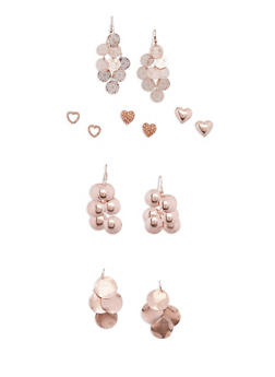 Assorted 6 Piece Heart Stud and Drop Earrings Set - 3135035159278